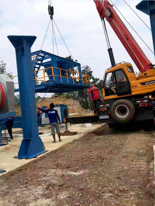 Memasang Pabrik Aspal Aimix
